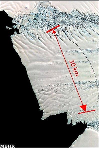شناسایی یک ترک 30 کیلومتری در بزرگترین آیسبرگ قطب جنوب