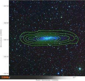 تابش رادیویی از گاز هیدروژن خنثی در یک کهکشان نزدیک